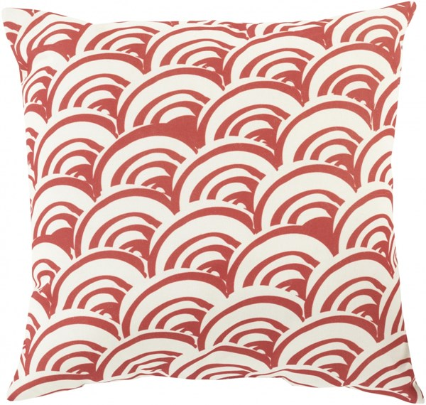 Mizu Burgundy Beige Polyester Throw Pillow (L 20 X W 20) MZ009-2020
