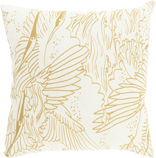 Mizu Contemporary Gold Beige Charcoal Polyester Throw Pillows 13467-VAR1