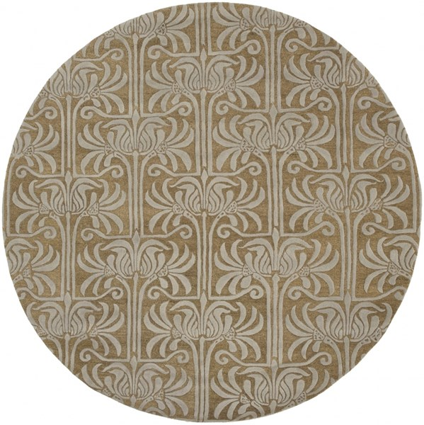 Natura Contemporary Taupe Light Gray Wool Round Area Rug (L 96 X W 96) NAT7037-8RD