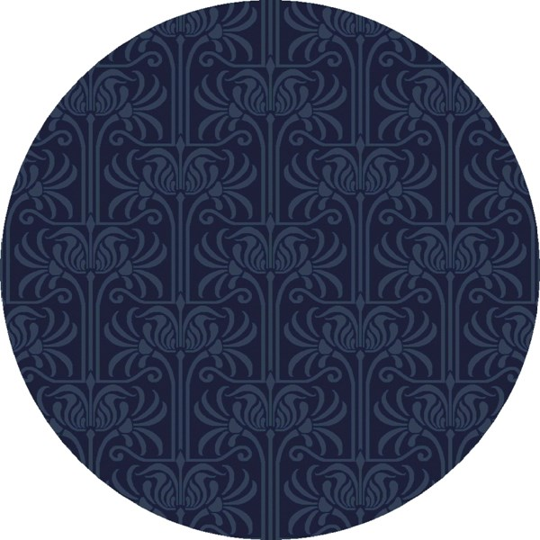 Natura Contemporary Navy Cobalt Wool Round Area Rug (L 96 X W 96) NAT7056-8RD