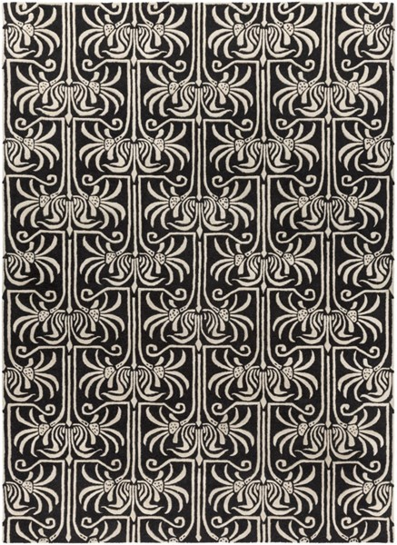 Natura Contemporary Light Gray Charcoal Wool Area Rug (L 132 X W 96) NAT7058-811