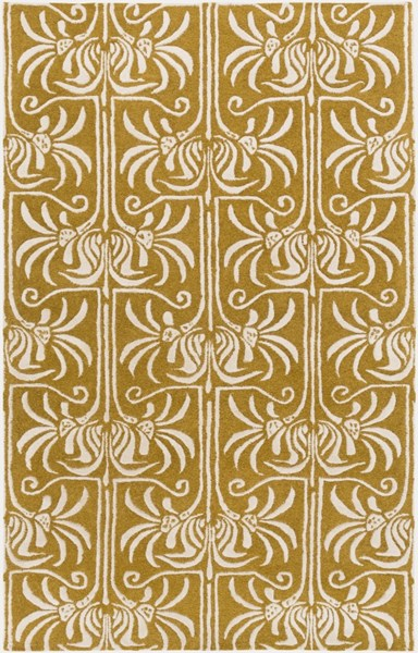 Natura Contemporary Gold Light Gray Wool Area Rug (L 96 X W 60) NAT7059-58