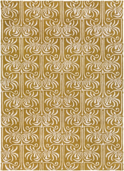 Natura Contemporary Gold Light Gray Wool Area Rug (L 132 X W 96) NAT7059-811
