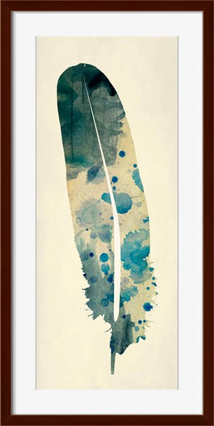 Surya Eternal Teal Paper Spotted Feather Wall Art - 40x30 NE186A001-4030
