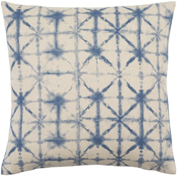 Nebula Cobalt Beige Down Polyester Linen Throw Pillow - 20x20x5 NEB003-2020D