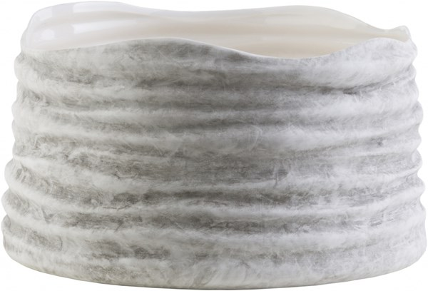 North Harbor Ivory Gray Ceramic Bowl (L 10.25 X W 10.25 X H 3.5) NHB220-M