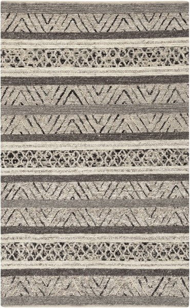 Nico Contemporary Charcoal Gray Ivory Wool Area Rug (L 90 X W 60) NIC7001-576