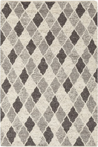 Nico Contemporary Charcoal Ivory Gray Wool Area Rug (L 90 X W 60) NIC7002-576
