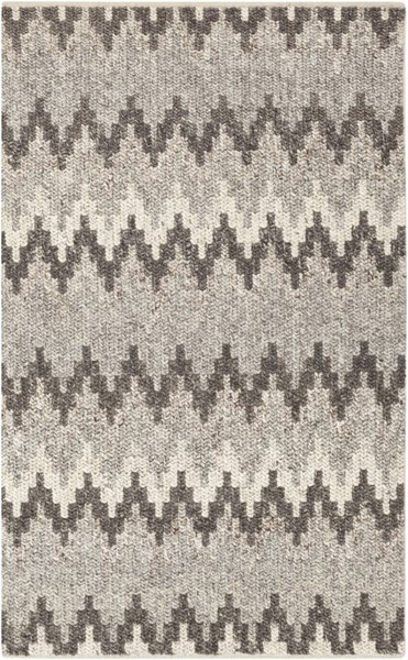 Nico Contemporary Charcoal Black Ivory Wool Area Rug (L 90 X W 60) NIC7003-576