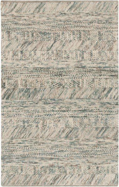 Norway Modern Light Gray Moss Teal Wool Area Rug (L 96 X W 60) NOR3708-58