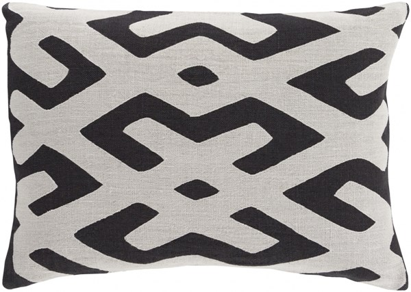 Nairobi Light Gray Black Fabric Lumbar Pillow (L 19 X W 13 X H 4) NRB002-1319D