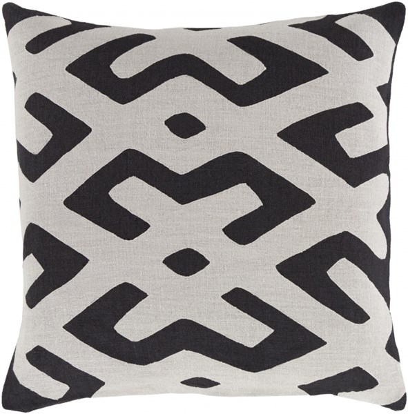 Nairobi Light Gray Black Linen Throw Pillow (L 20 X W 20 X H 5) NRB002-2020D