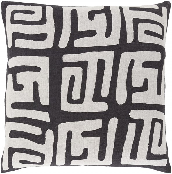 Nairobi Light Gray Black Down Linen Throw Pillow - 20x20x5 NRB006-2020D