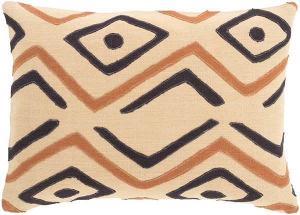 Nairobi Beige Rust Black Poly Linen Throw Pillow - 20x20x5 NRB008-2020P