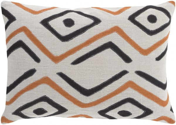 Nairobi Light Gray Rust Black Down Linen Throw Pillow - 18x18x4 NRB009-1818D