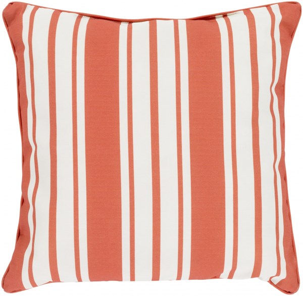 Nautical Stripe Rust Ivory Polyester Throw Pillow - 16x16x4 NS004-1616