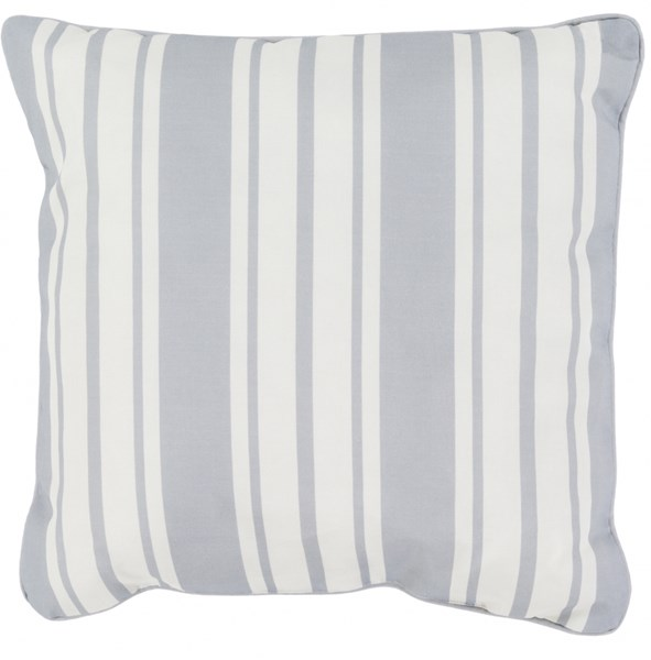 Nautical Stripe Pillow in Light Gray - 20 x 20 x 5 NS005-2020