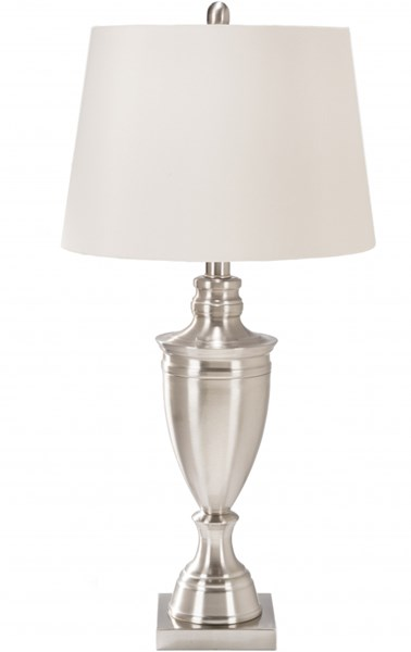 Natalie Brushed Steel Metal Faux Silk Table Lamp - 16x32 NTLP-001