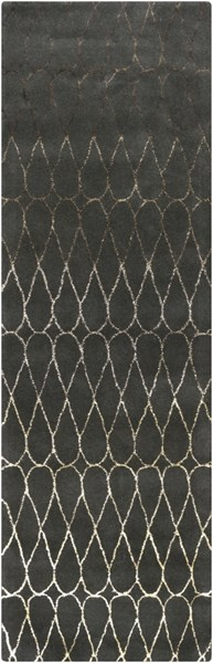 Naya Contemporary Charcoal Taupe Wool Runner (L 96 X W 30) NY5236-268