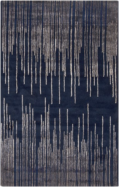 Naya Modern Navy Taupe Wool Area Rug L 96 X W 60 The