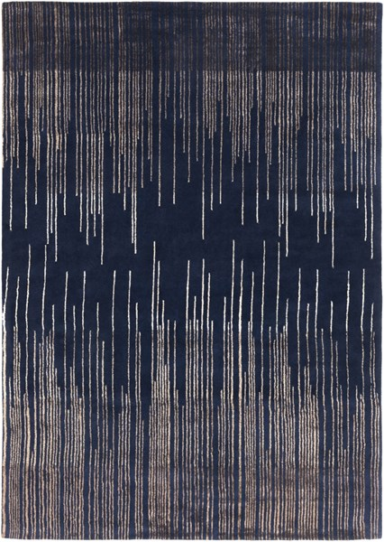 Naya Modern Navy Taupe Wool Area Rug (L 132 X W 96) NY5237-811