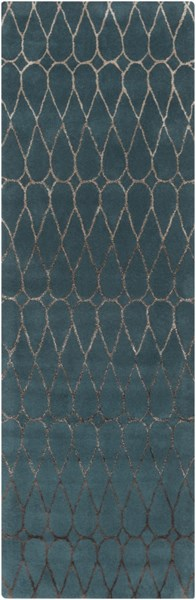 Naya Contemporary Teal Taupe Wool Runner (L 96 X W 30) NY5246-268