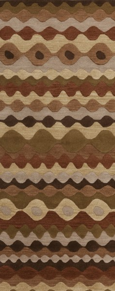 Oasis Contemporary Tan Beige Chocolate Wool Runner (L 96 X W 30) OAS1087-268