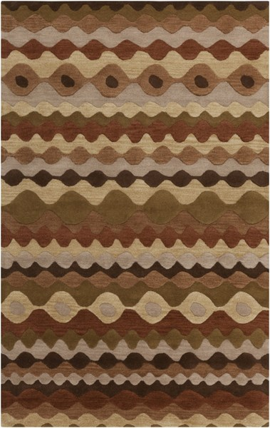 Oasis Tan Beige Chocolate Wool Area Rug - 60 x 96 OAS1087-58