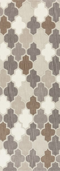 Oasis Light Gray Taupe Olive Wool Runner - 30 x 96 OAS1088-268