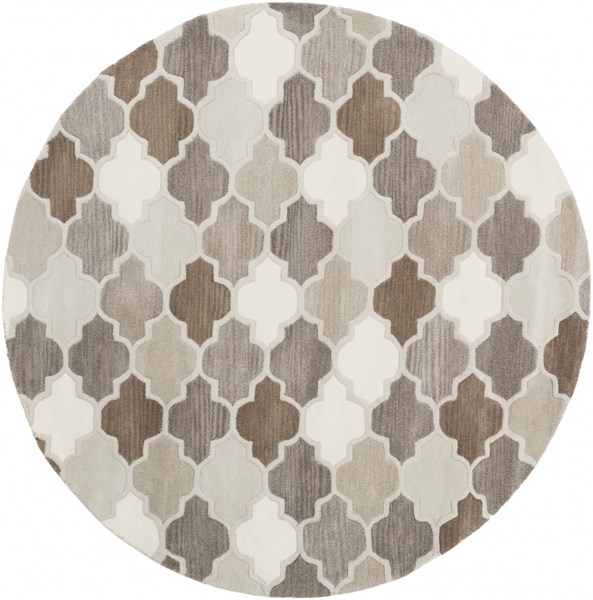 Oasis Light Gray Taupe Olive Wool Round Area Rug - 72 x 72 OAS1088-6RD