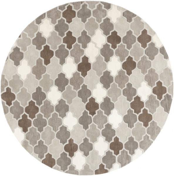 Oasis Light Gray Taupe Olive Wool Round Area Rug - 96 x 96 OAS1088-8RD