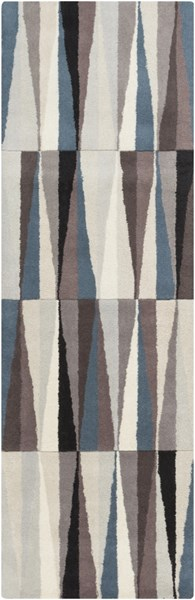Oasis Contemporary Black Taupe Beige Wool Runner (L 96 X W 30) OAS1094-268