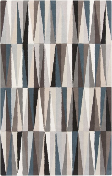 Oasis Contemporary Black Taupe Beige Wool Area Rug (L 96 X W 60) OAS1094-58