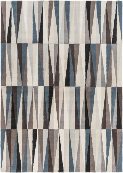 Oasis Contemporary Black Taupe Beige Wool Area Rug (L 132 X W 96) OAS1094-811