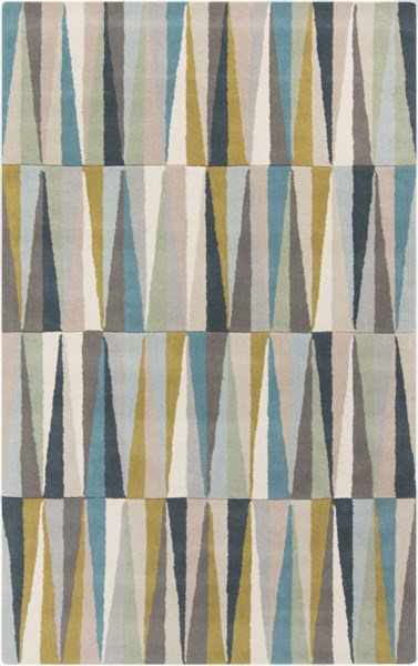 Oasis Contemporary Light Gray Aqua Beige Wool Area Rug (L 96 X W 60) OAS1095-58