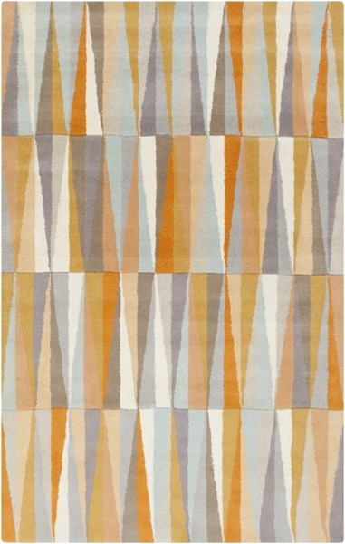 Oasis Light Gray Burnt Orange Beige Wool Area Rug (L 96 X W 60) OAS1099-58