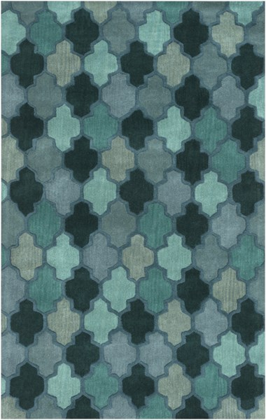 Oasis Teal Forest Iris Wool Area Rug - 60 x 96 OAS1102-58