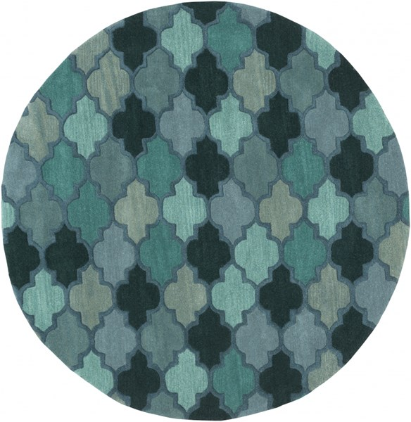 Oasis Teal Forest Iris Wool Round Area Rug - 72 x 72 OAS1102-6RD