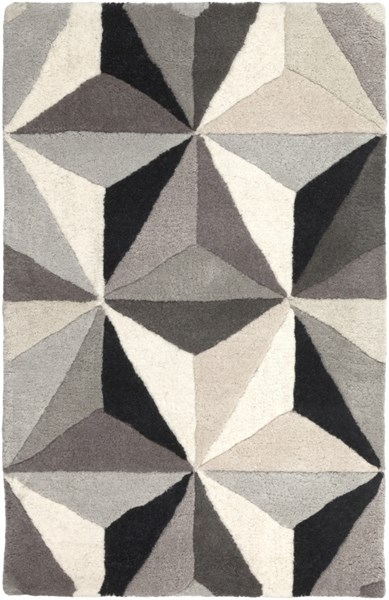 Oasis Contemporary Light Gray Black Taupe Wool Area Rug (L 36 X W 24) OAS1104-23