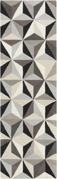 Oasis Contemporary Light Gray Black Taupe Wool Runner (L 96 X W 30) OAS1104-268