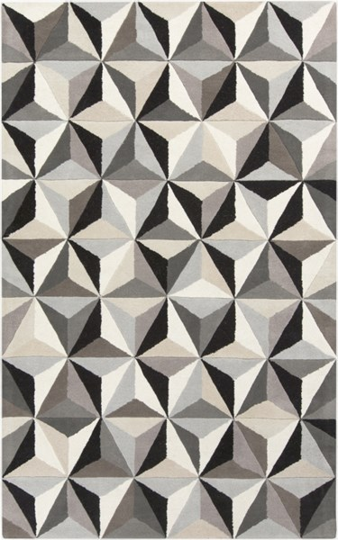 Oasis Contemporary Light Gray Black Taupe Wool Area Rug (L 96 X W 60) OAS1104-58