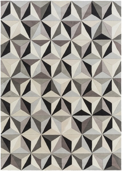 Oasis Contemporary Light Gray Black Taupe Wool Area Rug (L 132 X W 96) OAS1104-811