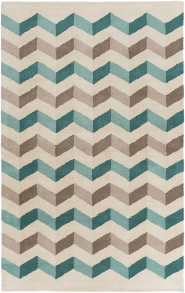Oasis Contemporary Light Gray Olive Teal Wool Area Rug (L 96 X W 60) OAS1107-58
