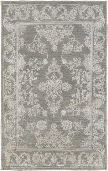 Opulent Moss Gray Ivory Wool Cotton Viscose Area Rug (L 108 X W 72) OPE6000-69