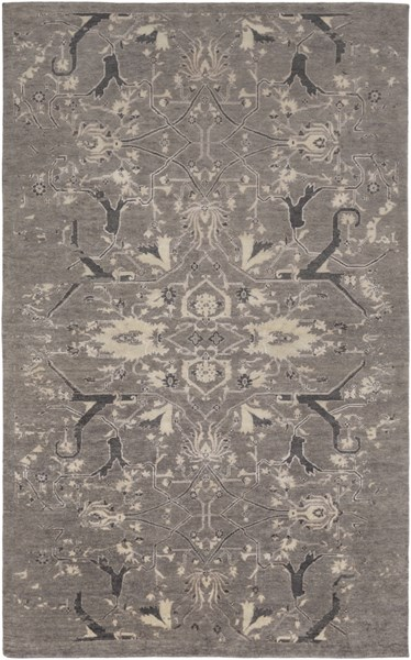 Opulent Traditional Light Gray Black Lavender Wool Cotton Viscose Rugs 14852-VAR1
