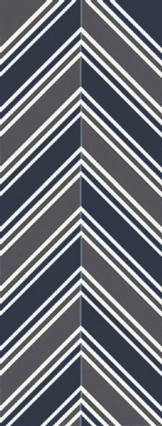 Opera Navy Charcoal Ivory Poly Acrylic Runner (L 96 X W 30) OPR6000-268