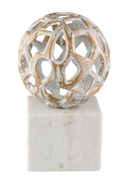 Surya Orb White Marble Metal Decorative Accent - 5 x 5 x 8 ORB-001