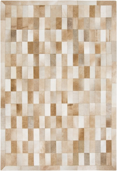 Outback Modern Tan Ivory Beige Hair On Hide Area Rug (L 96 X W 60) OUT1005-58