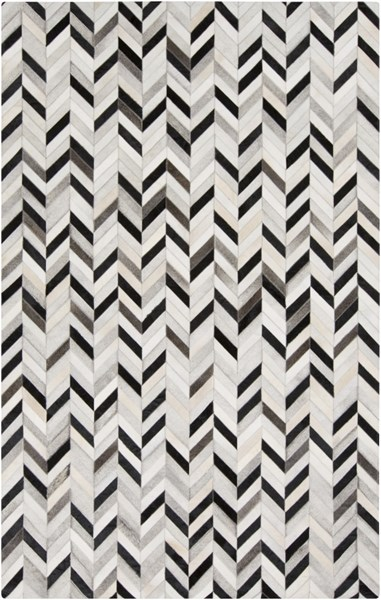 Outback Black Light Gray Beige Hair On Hide Area Rug (L 96 X W 60) OUT1008-58