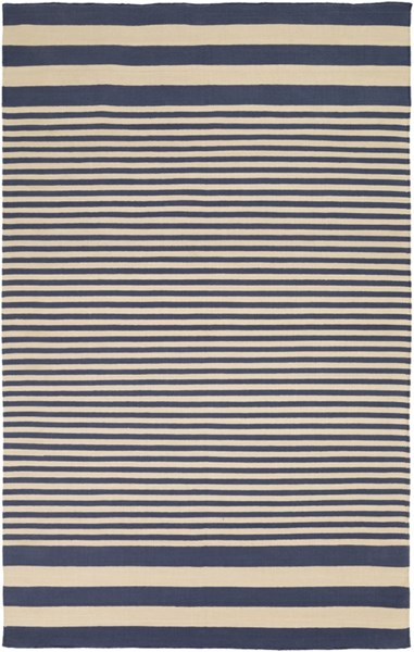 Oxford Contemporary Navy Beige Cotton Area Rug (L 96 X W 60) OXF3003-58